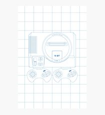 Megadrive Outline single (white) Photographic Print