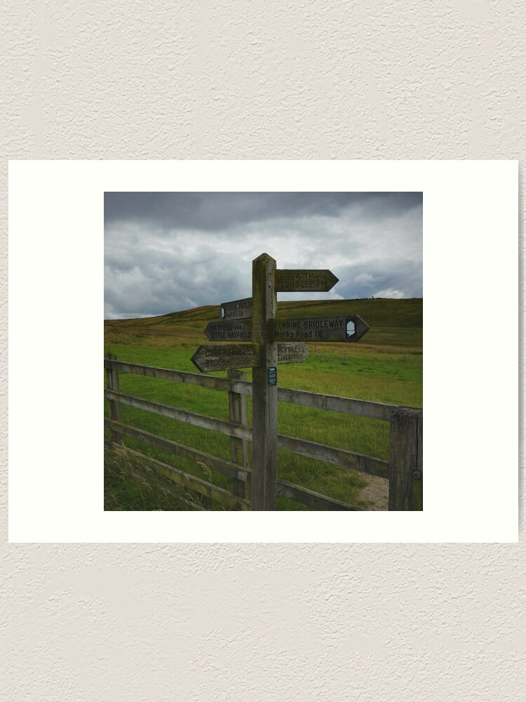 Alternate view of Peak District post sign Art Print