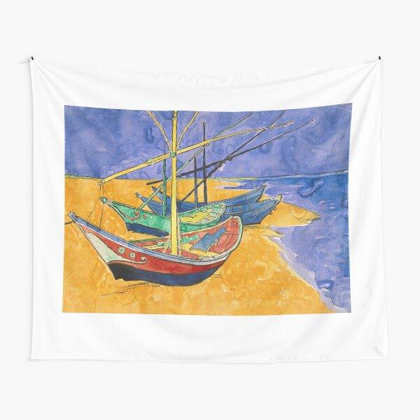 Vincent Van Gogh barcos en la playa Tela decorativa