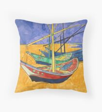 Vincent Van Gogh Boats on the Beach Throw Pillow