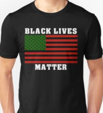 Black Lives Matter American Flag African Colors T-Shirt