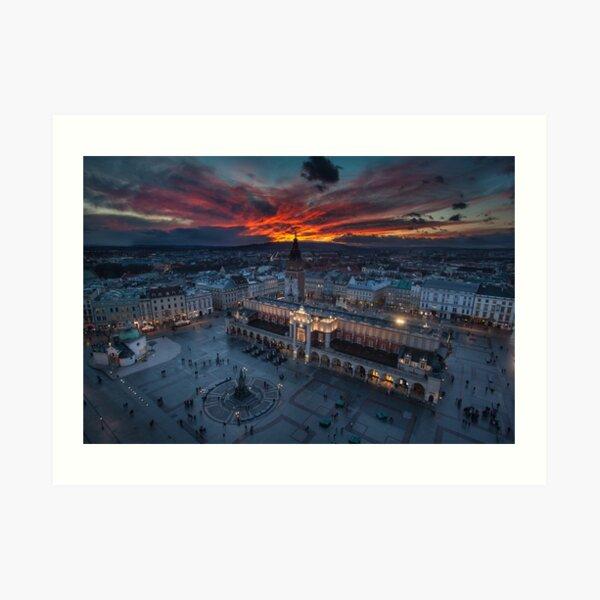 Krakow - Main Square at sunset Art Print