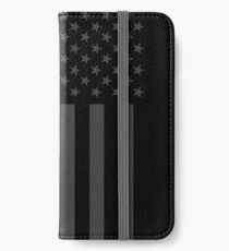 The Symbolic Thin Blue Line on American Flag iPhone Wallet/Case/Skin