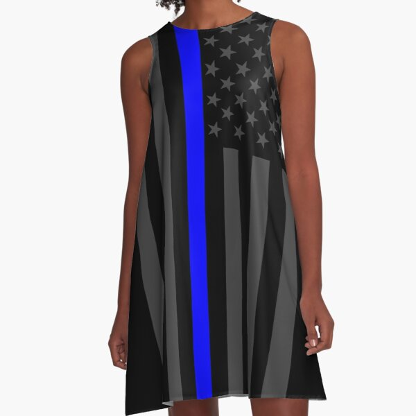 The Symbolic Thin Blue Line on American Flag A-Line Dress