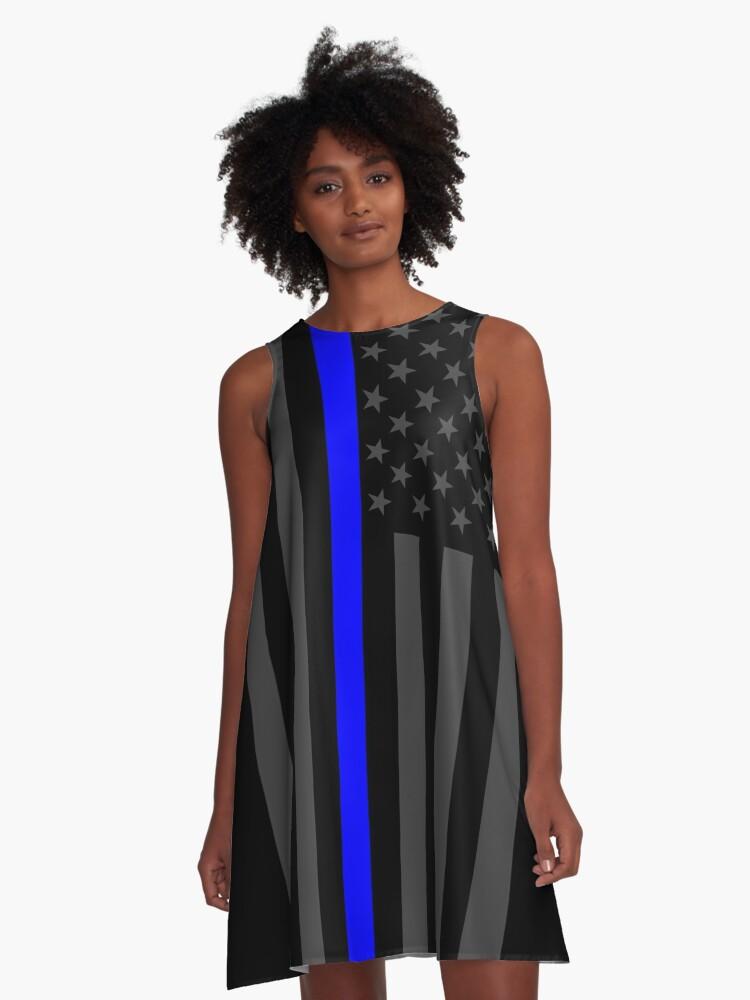 The Symbolic Thin Blue Line On American Flag A Line Dress By Garaga