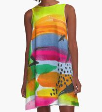 Colorful Watercolor Abstract Painting A-Line Dress