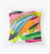 Colorful Watercolor Abstract Painting Throw Pillow