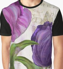 Purple Parrot Tulips Graphic T-Shirt