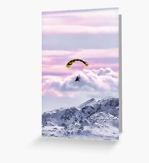 Parasailing over the Hoodoo Mountains in Alaska in the USA Greeting Card