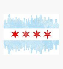 Chicago Skyline Flag Photographic Print