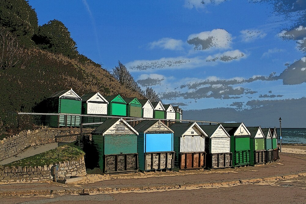 Beach Huts, Middle Chine, Bournemouth by RedHillDigital