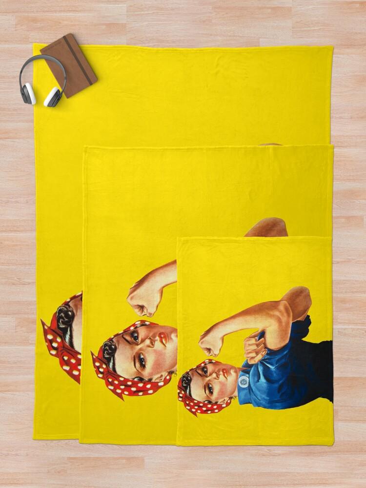 Alternate view of Rosie The Riveter Retro Style design Throw Blanket