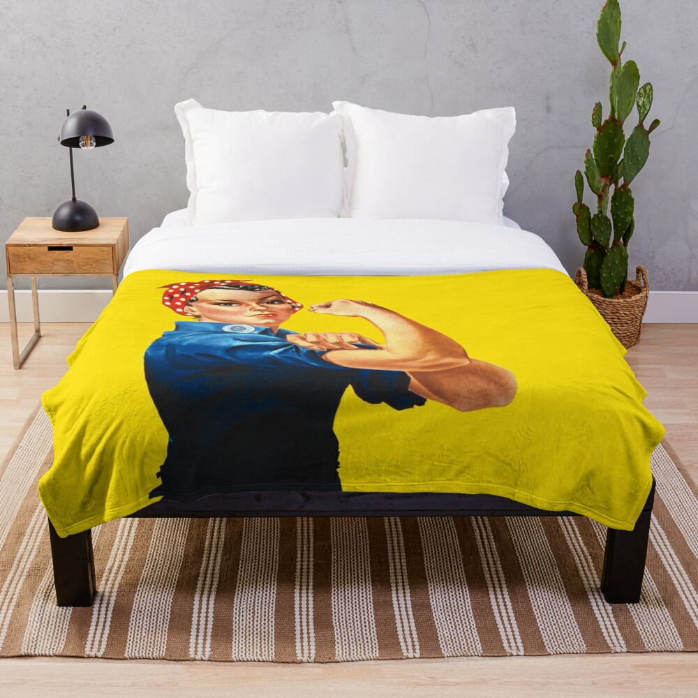 Rosie The Riveter Retro Style design Throw Blanket