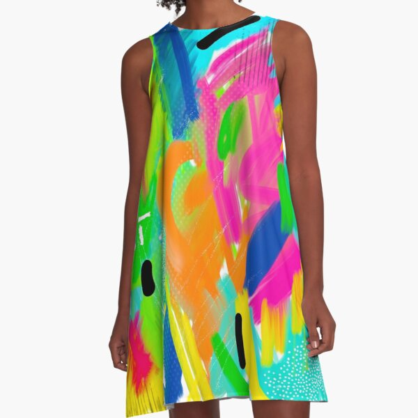 Colorful Abstract Painting A-Line Dress