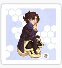 Chibi Sherlock on a Skull Sticker