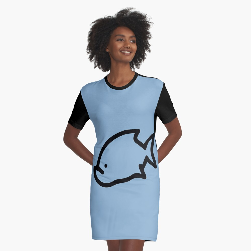 Fish Graphic T-Shirt Dress Front