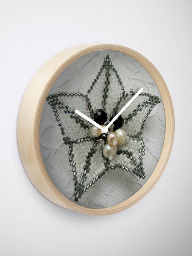 Alternate view of Lily. Beaded design Clock