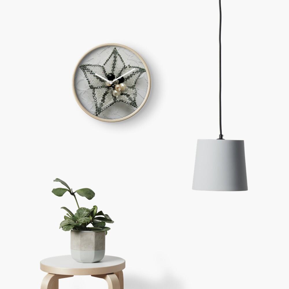 Lily. Beaded design Clock