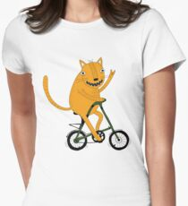 Funny cat on strida bike Womens Fitted T-Shirt