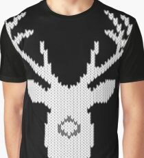 White Tail Buck in Knit Style Graphic T-Shirt