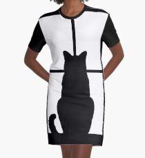 Window Cat Graphic T-Shirt Dress
