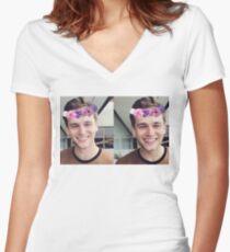 Brandon Flynn (Flower Crown)- Thirteen Reasons Why Women's Fitted V-Neck T-Shirt