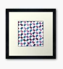 Watercolor brush strokes blue Framed Print