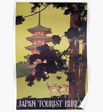 Vintage Japan Travel Deer and Temple Poster