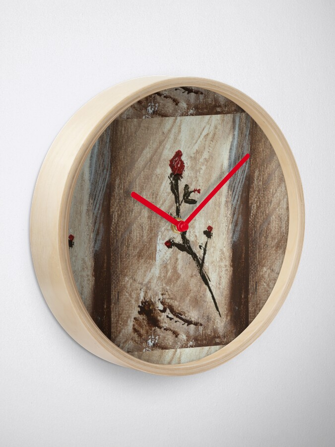 Alternate view of Red rose Clock