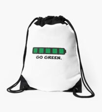 """Go Green"" Energy Conservation Logo Drawstring Bag"