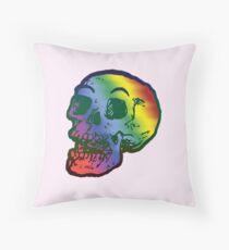 Depression Skeleton: ROYGBIV SKULL Throw Pillow