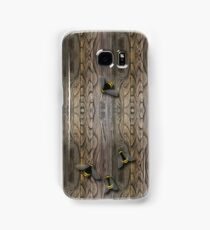 Knotted Wood Texture Effect with Bumble Bees Samsung Galaxy Case/Skin