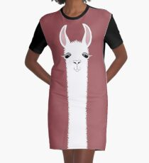 MARSALA LLAMA PORTRAIT Graphic T-Shirt Dress