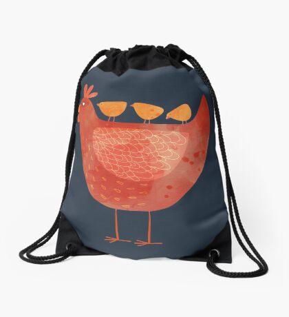 Hen and Chicks on Blue Drawstring Bag
