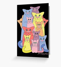 Twelve Cats For Happiness Greeting Card