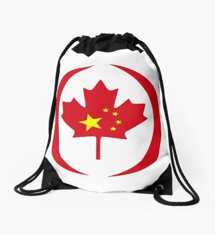 Chinese Canadian Multinational Patriot Flag Series Drawstring Bag