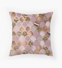 Magenta mermaid scales - turkish delight rose gold Throw Pillow