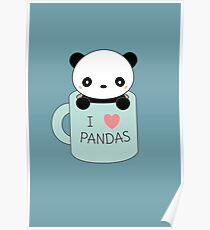 Kawaii Pandas Dibujo Pósters Redbubble