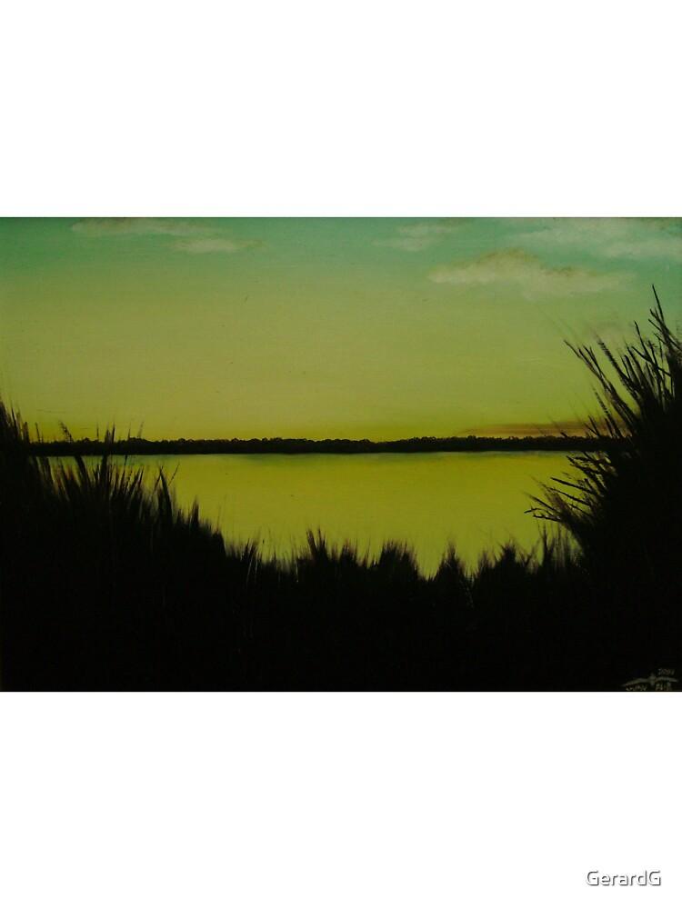 LAKE THROUGH REEDS by GerardG