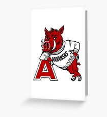 Vintage Arkansas Razorback Greeting Card