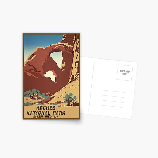 Arches National Monument Utah Moab Vintage Travel Decal Postcard