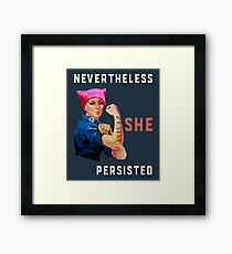 Nevertheless She Persisted. Resist with Rosie the Riveter Framed Print