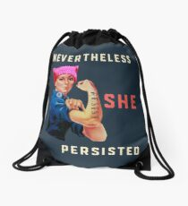 Nevertheless She Persisted. Resist with Rosie the Riveter Drawstring Bag