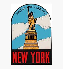 Vintage New York Statue of Liberty Travel Decal Photographic Print