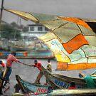 Whatever it Takes - Makeshift Sail at Tema Harbor by Wayne King