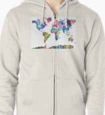 World map sticker mens sweatshirts hoodies redbubble watercolor world map zipped hoodie gumiabroncs Choice Image
