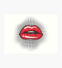 Red Retro Lips Art Print