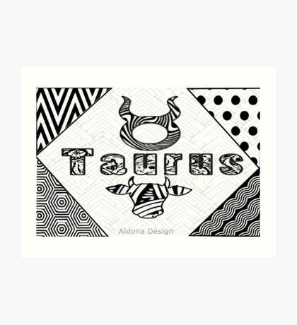 Taurus Doodle Art  (1516 Views) Art Print