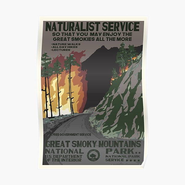 Retro WPA National Parks Poster of Great Smoky Mountains Reimagined for the Future with Climate Change Poster