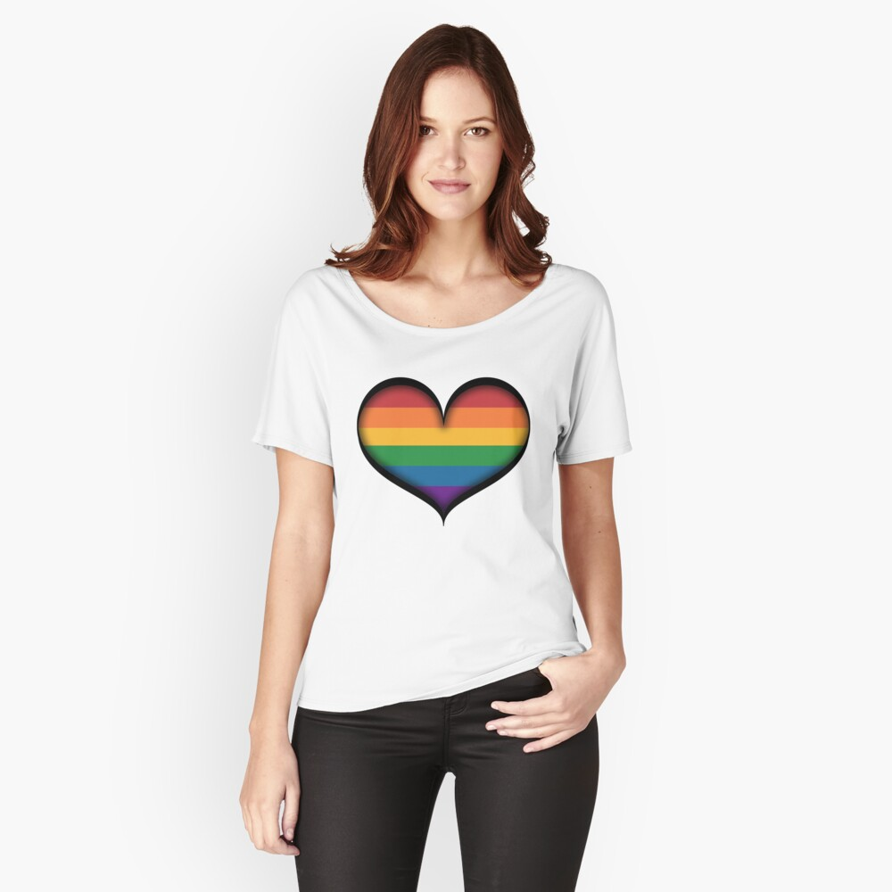 LGBT Rainbow Heart Women's Relaxed Fit T-Shirt Front
